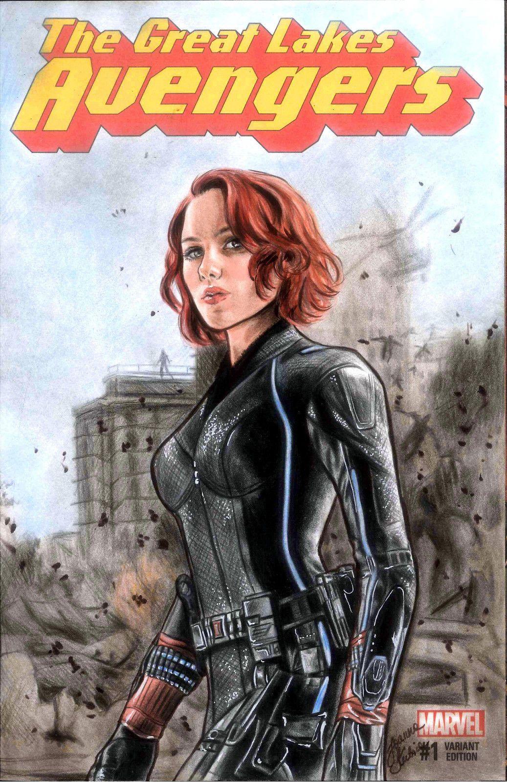 Black Widow 1 Blank Variant Cover Comic Art Sketch Avengers