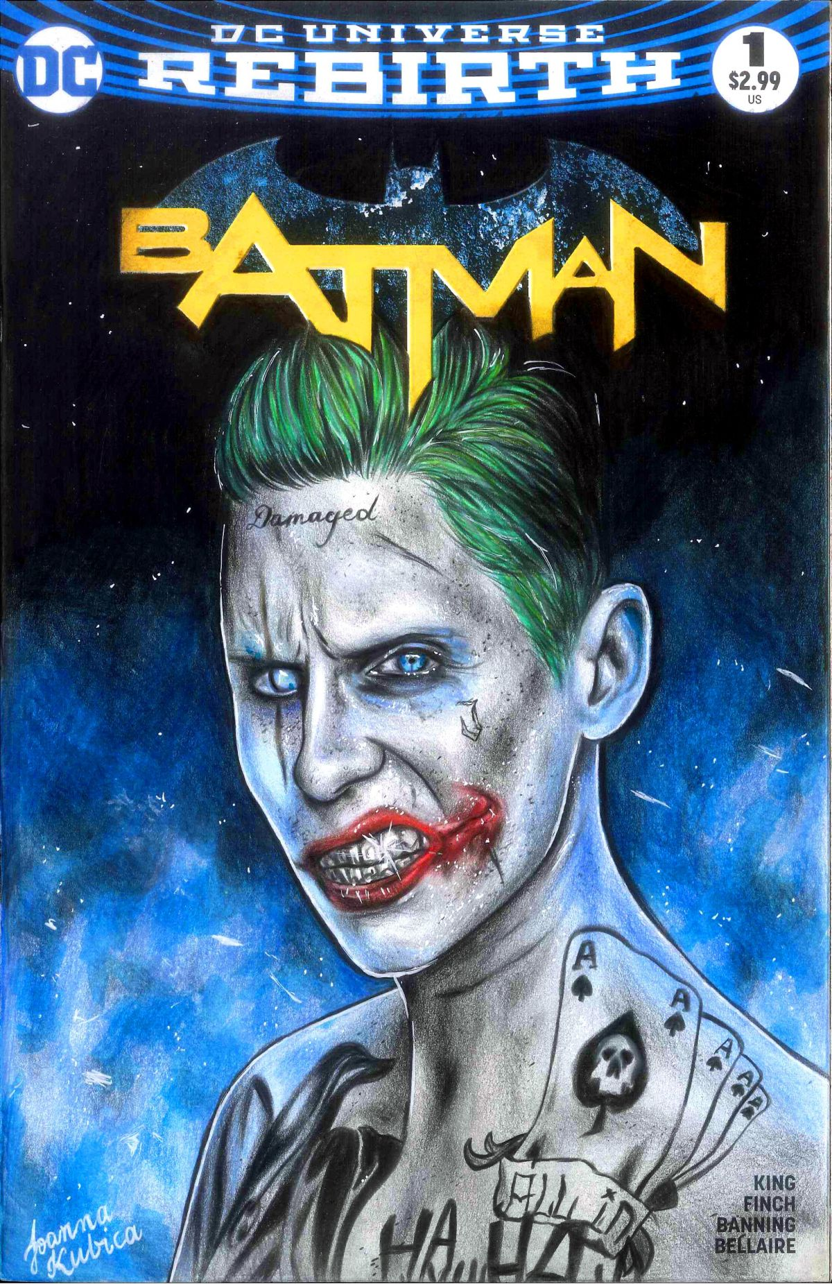 Halloween Joker Card.Batman 1 Blank Variant Cover Comic Art Sketch Joker Suicide Squad
