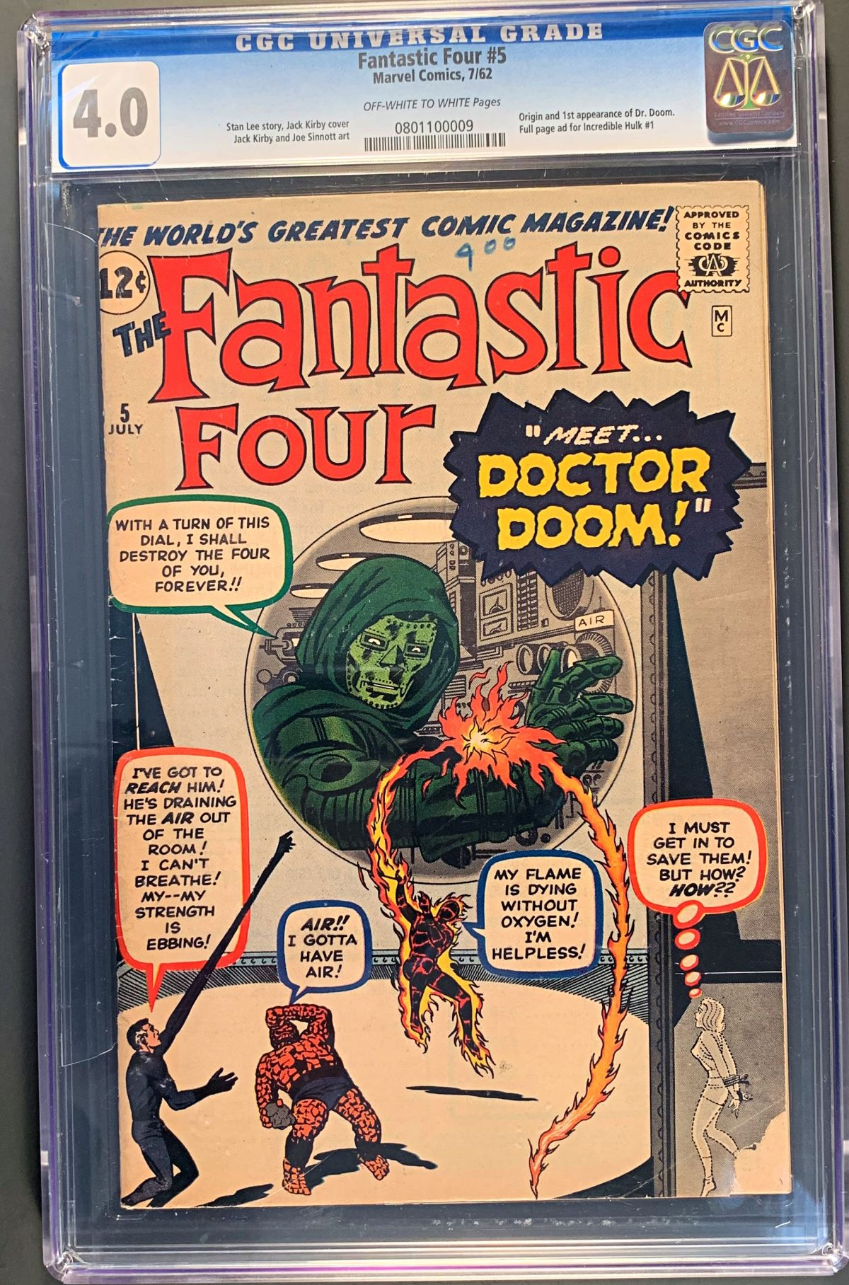 CLOSED] Fantastic Four #5 First Doctor Doom! CGC 4 0