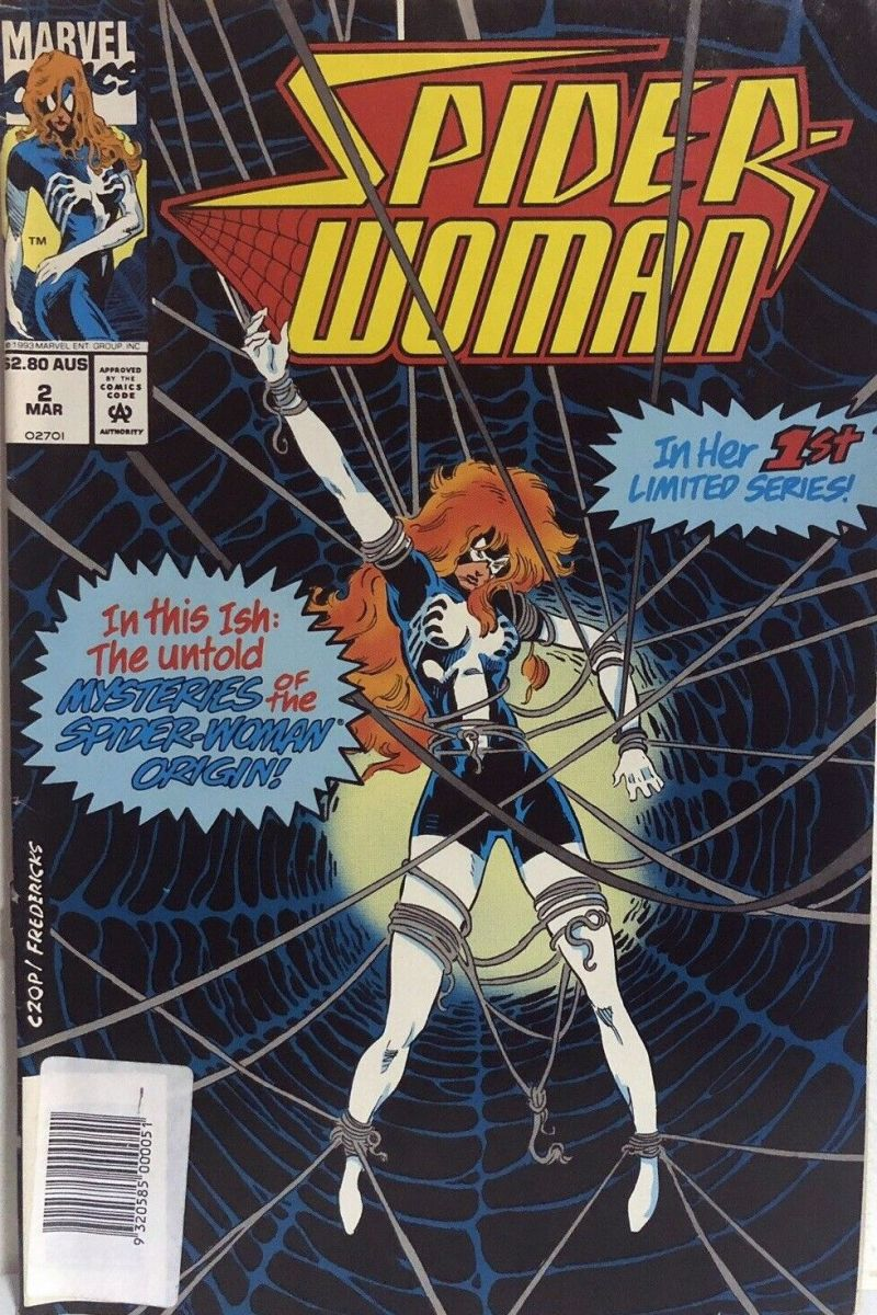 [93-12][w1.3] Spider-Woman v2 #2 APV [CONFIRMED] $2.80 AUS i.o.$1.75 (Mar1994) i.o.(Dec1993), barcode NO DIRECT EDITION & changes top 2-digits PROBABLY, COVERED WITH UPC LABEL .jpg