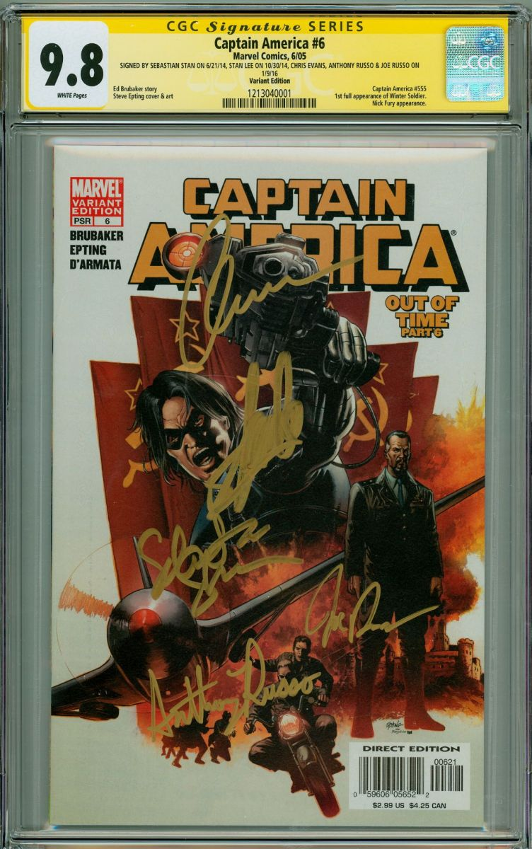 cgc 9.8 Captain America 6 SS stan lee, Sebastian Stan, Chris Evans, Stan Lee, Russo Brothers.jpg